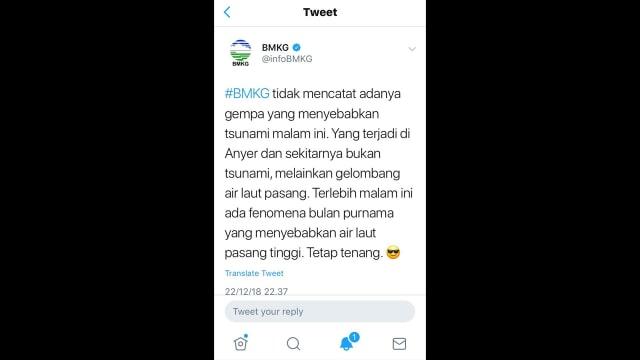 Twit BMKG soal Tsunami Anyer yang dihapus. (NOT COVER)