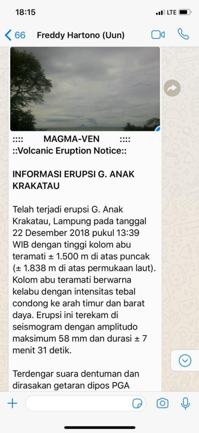 WA terkait erupsi Gunung Anak Krakatau