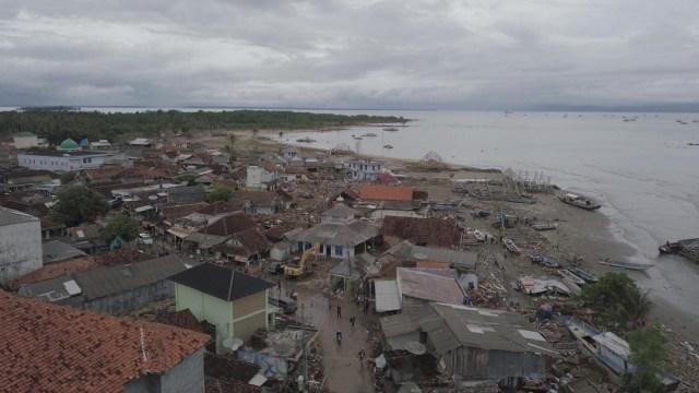Pantauan udara dampak pasca tsunami di Kecamatan Sumur, Banten