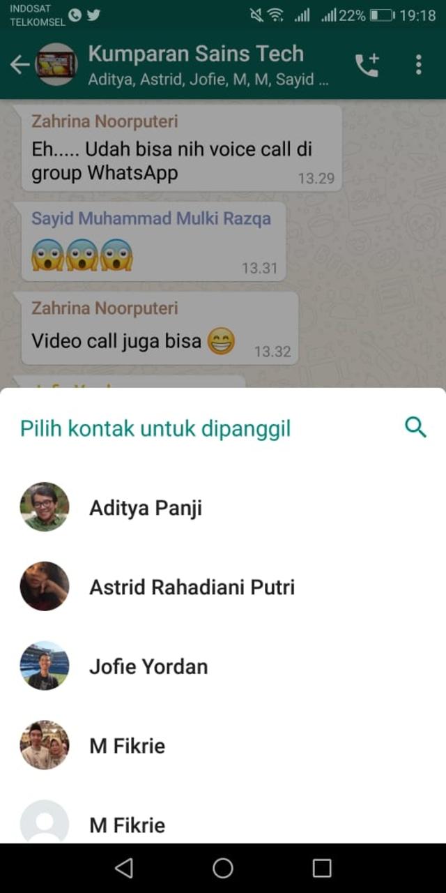 Cara melakukan voice dan video call di WhatsApp group pada smartphone Android