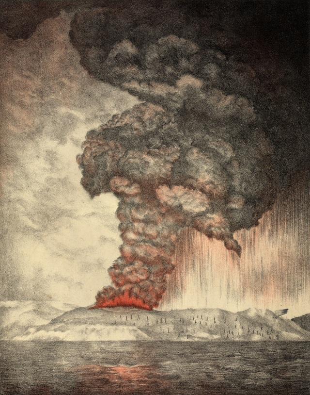LIPSUS GUNUNG KRAKATAU, Litograf Erupsi Krakatau tahun 1888 (NOT COVER)