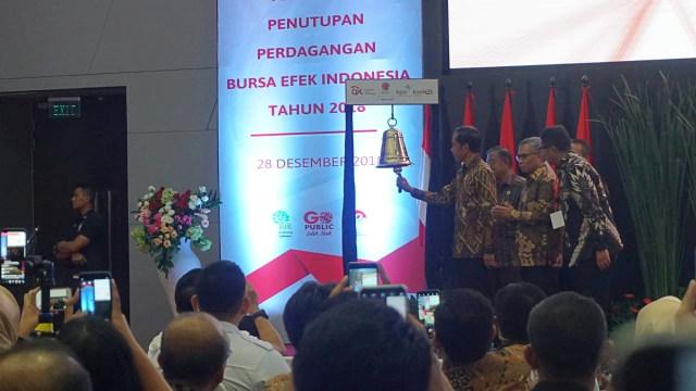 Jokowi Tutup Perdagangan BEI Tahun 2018