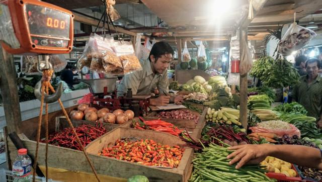 Ilustrasi pedagang sayur, pasar tradisional