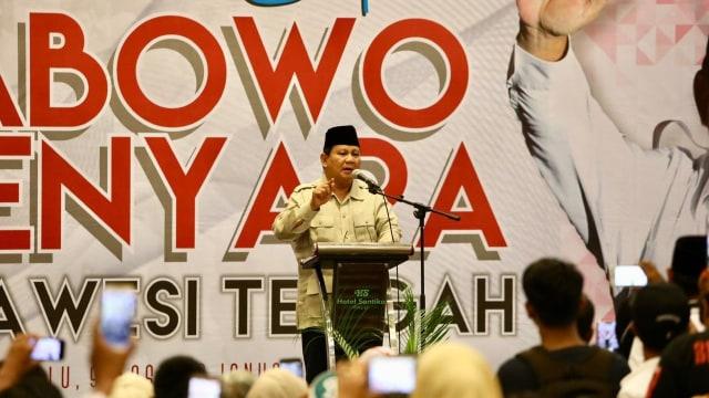 Capres nomor urut 02 Prabowo Subianto dalam acara Temu Kader, Simpatisan dan Relawan