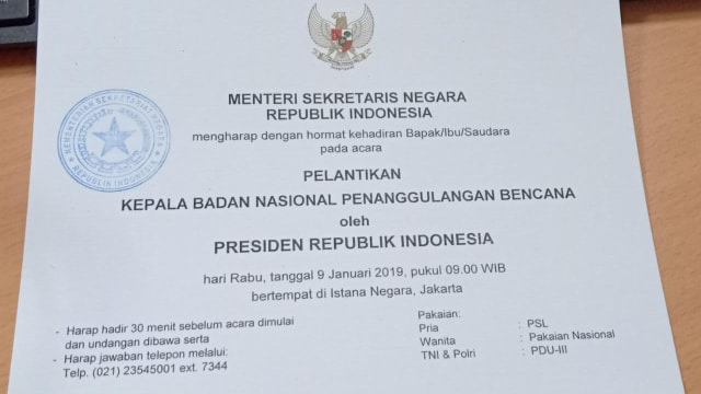 Surat pelantikan kepada badan nasional penanggulangan bencana