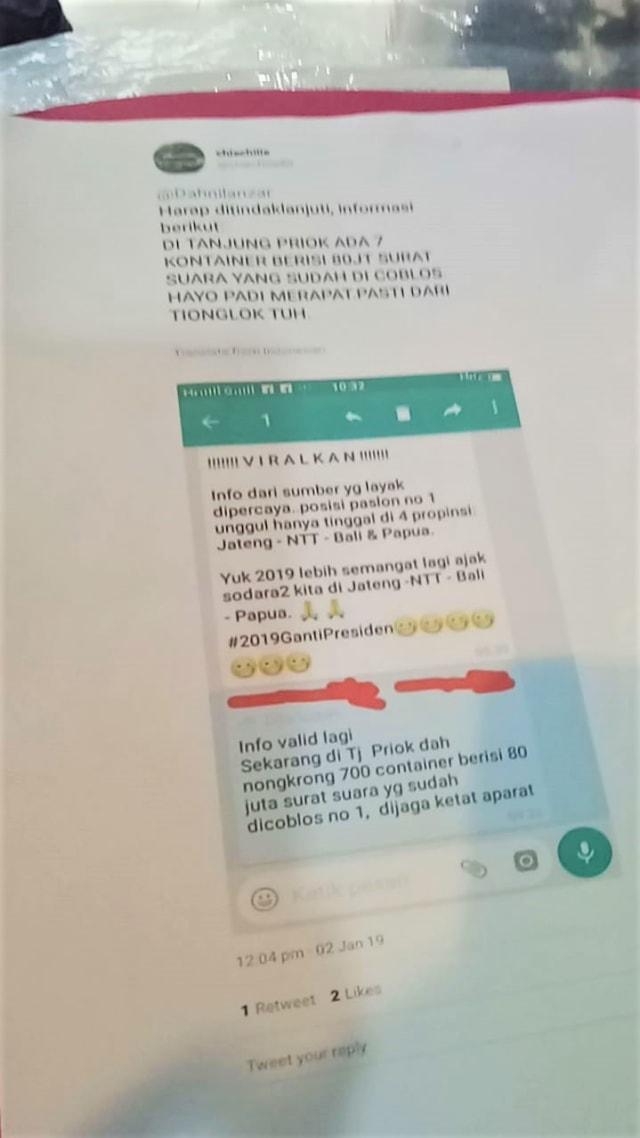 (NOT COVER) Kasus Hoaks, 7 kontainer surat suara sudah tercoblos