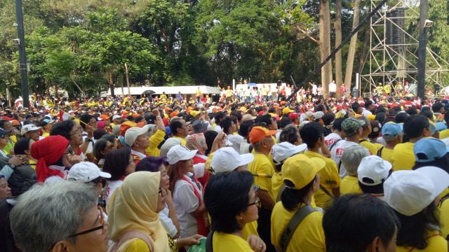 Sejumlah alumni mahasiswa dari berbagai kampus hadir dalam deklarasi pemenangan Jokowi-Ma'ruf di GBK