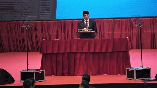 Cawapres Sandiaga Uno menyampaikan sambutan, Pidato Kebangsaan Prabowo Subianto