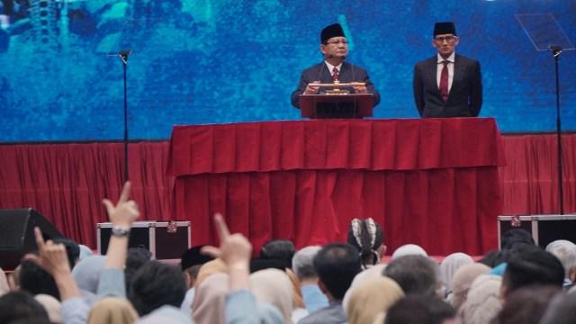 Prabowo Subianto dan Sandiaga Uno saat menyampaikan pidato kebangsaan, JCC