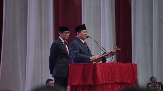 Prabowo Subianto, Sandiaga Uno, pidato kebangsaan