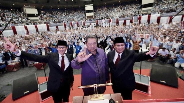 Sandiaga Uno, Susilo Bambang Yudhoyono dan Prabowo Subianto, pidato kebangsaan Prabowo