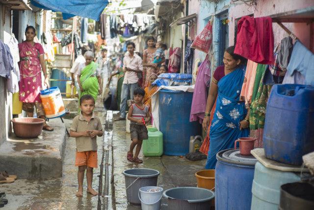 Penduduk Dharavi, India