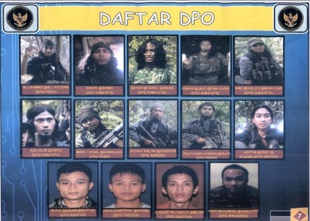 Daftar Pencarian Orang (DPO) terduga teroris Poso di Mapolda Sulawesi Tengah di Palu