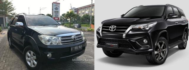 Perbandingan Toyota Fortuner lawas dan baru