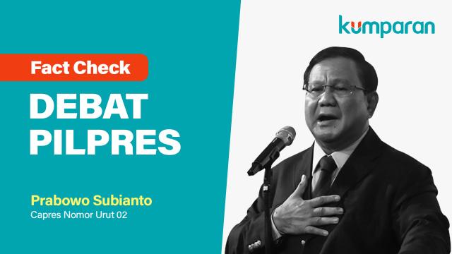Fact Check Debat Pilpres, Prabowo Subianto