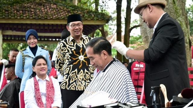 Jokowi, cukur rambut, Situ Bagendit