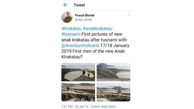 Screenshot Tweet WNA yang Langgar Batas Anak Krakatau