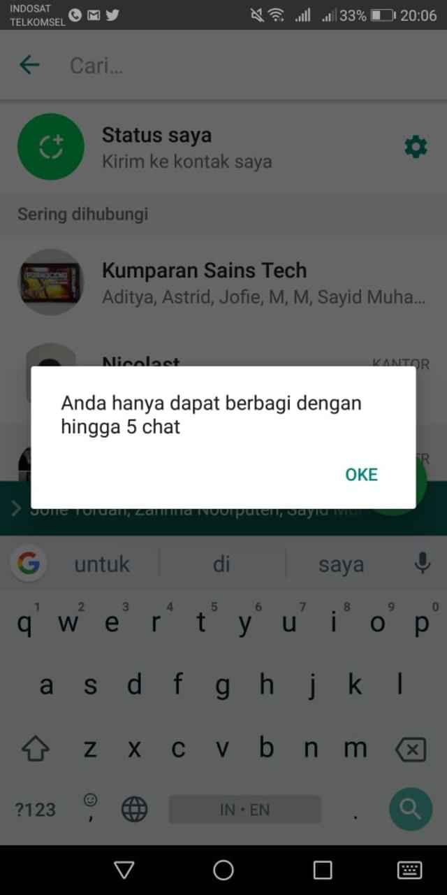 (NOT COVER) Notifikasi batas forward pesan di WhatsApp