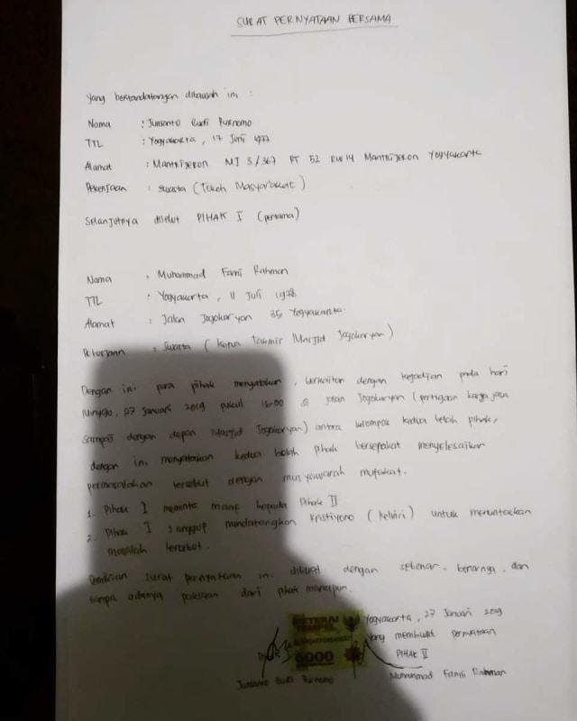 Surat bermaterai kesepakatan damai, Taklin Masjid Jogokariyan, PDIP Mantrijeron