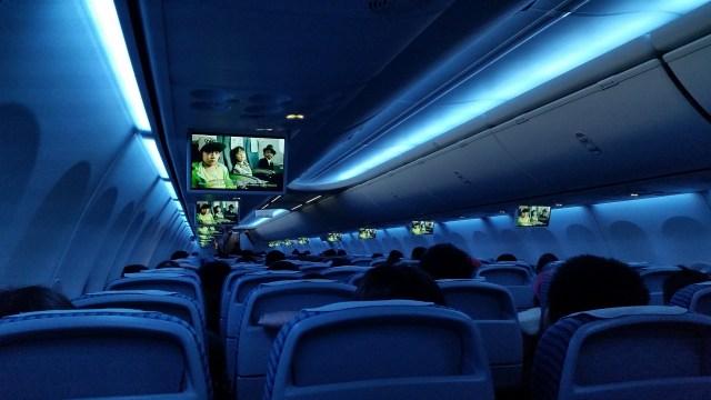 Ilustrasi lampu dalam kabin pesawat
