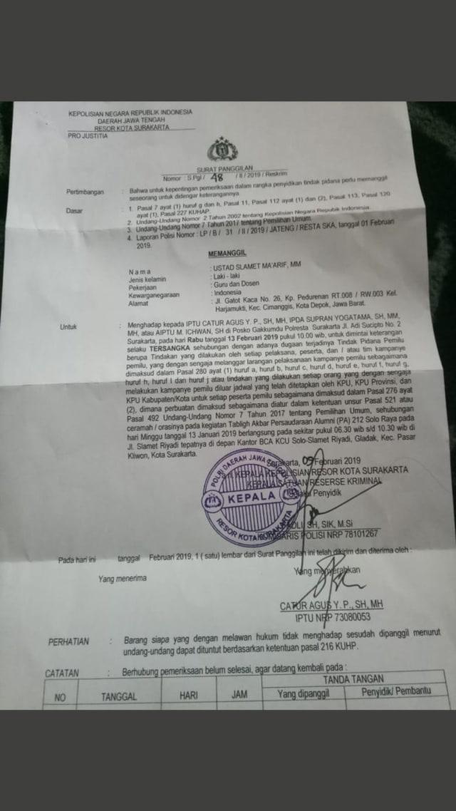 Surat panggilan Ketum PA 212 Slamet Ma'arif di Polres Surakarta.