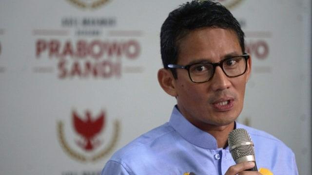 Konferensi pers BPN Prabowo-Sandi, Sandiaga Uno