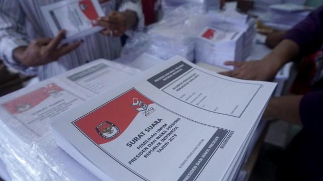 Surat Suara, Pemilu 2019, di Gudang Logistik KPUD Jakarta Pusat