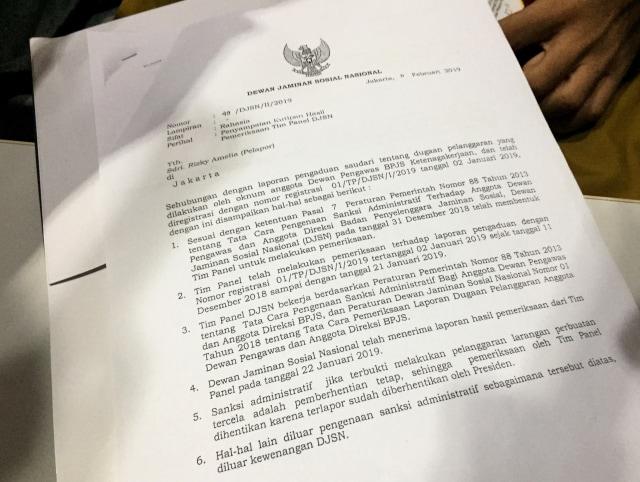 Surat Hasil Penanganan Tim Panel DJSN kepada Korban, kasus tindakan maksiat (NOT COVER)