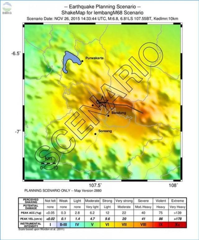 Peta simulasi gempa 6,8 magnitudo dari Sesar Lembang
