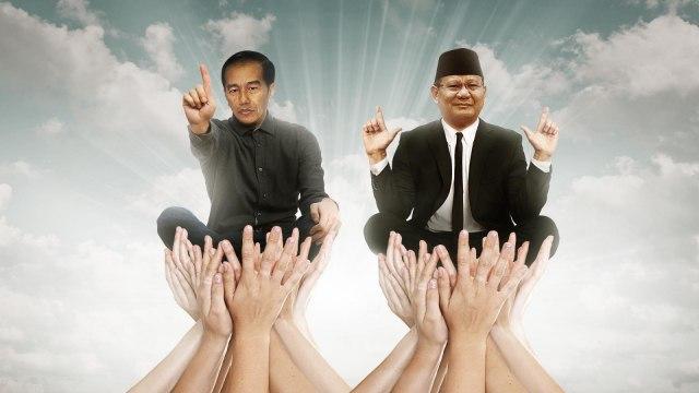 Ilustrasi Lipsus kumparan: Tarung Relawan Jokowi-Prabowo