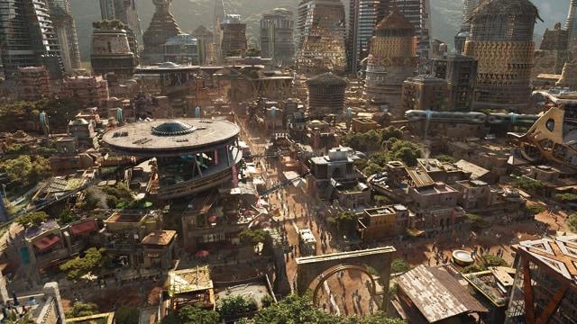 Aerial view Wakanda dalam film Black Panther