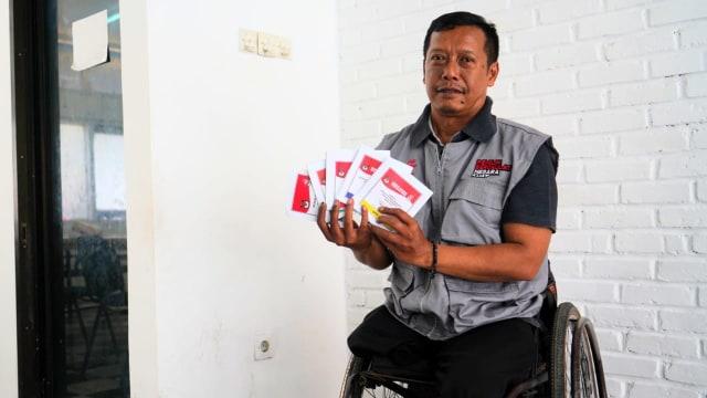 Berkursi Roda, Djumono dan Kawan-kawan Difabel Sosialisasikan Pemilu (9182)