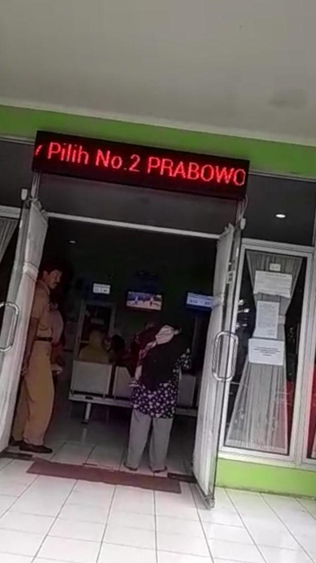 (NOT COVER) Running text puskesmas di Semarang di hack bertuliskan ajak pilih Prabowo