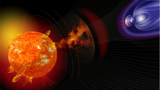 Ilustrasi badai matahari