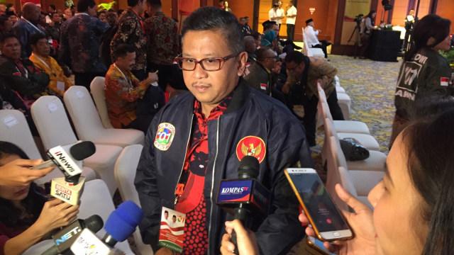 Sekretaris TKN Hasto Kristiyanto saat rapat konsolidasi h-30 di Hotel Borobudur