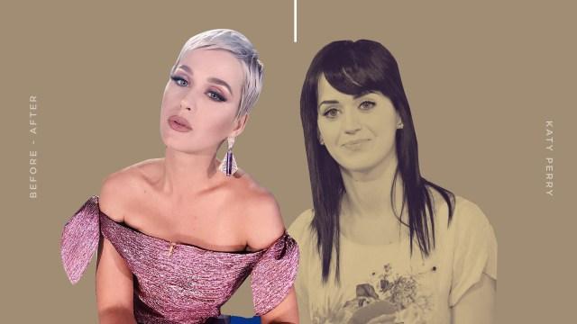 Penampilan Katy Perry sebelum dan sesudah berambut panjang.