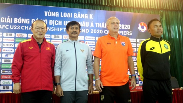 Pelatih Timnas Indonesia U-23, Indra Sjafri, konferensi pers jelang babak kualifikasi Piala Asia U-23 2020, Vietnam