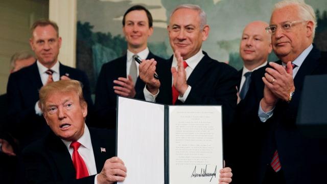 Presiden AS Donald Trump, Perdana Menteri Israel Benjamin Netanyahu, Israel, Dataran Tinggi Golan