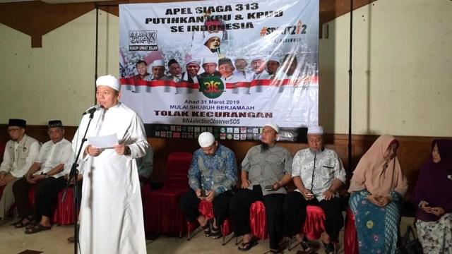 Sekjen FUI, Muhammad al Khaththath, Forum Umat Islam (FUI), bersama PA 212, FPI, serta berbagai ormas Islam, meluncurkan Apel Siaga 313 yang bakal digelar di KPU dan KPUD, pada Minggu