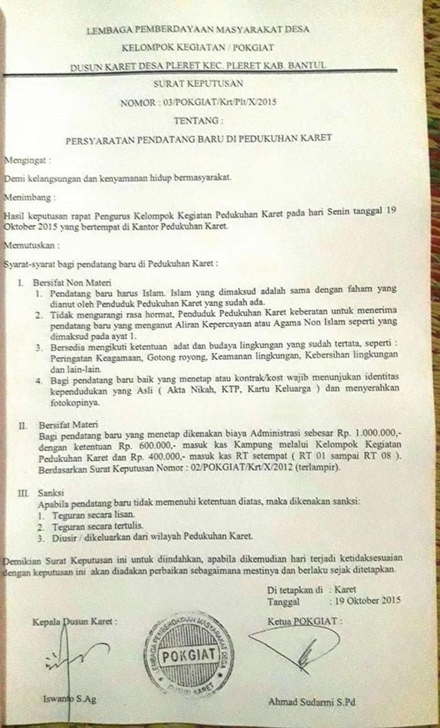 Peraturan persyaratan baru di Pedukuhan Karet, Kabupaten Bantul, DIY