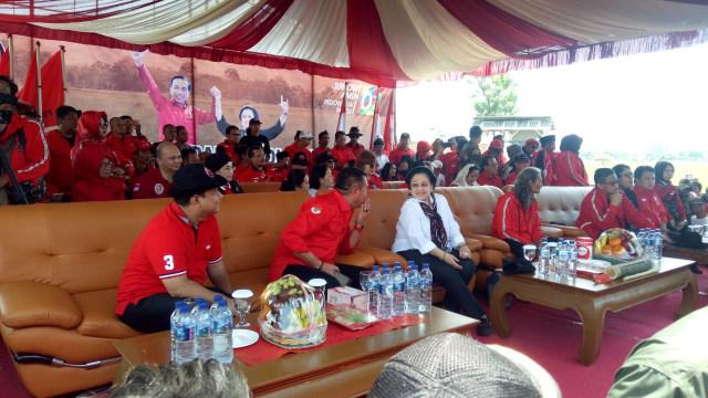 Kampanye PDIP di Indramayu, Megawati Panen Raya Padi Jenis MSP (110571)