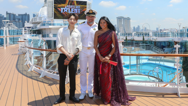 Anggun dan Jay Park, dua juri Asia's Got Talent bersama kapten kapal Majestic Princess, Dino Sagani.