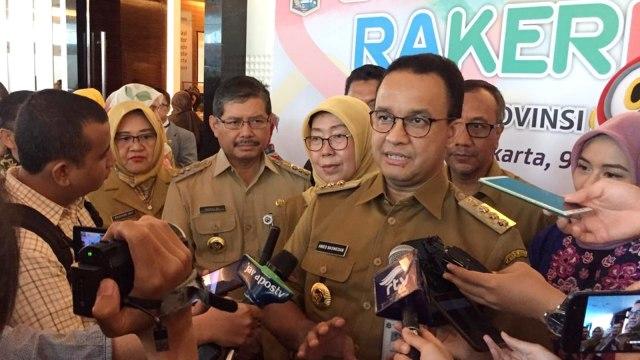 Gubernur DKI Jakarta Anies Baswedan di Raker Kesda Dinas Kesehatan DKI Jakarta di JS Luwansa, Jakarta Selatan