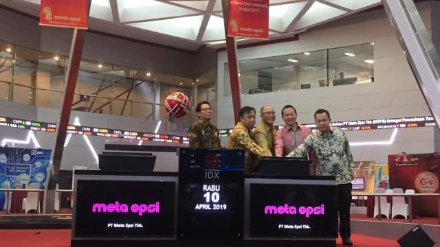 encatatan saham perdana PT Meta Epsi di Main Hall Bursa Efek Indonesia