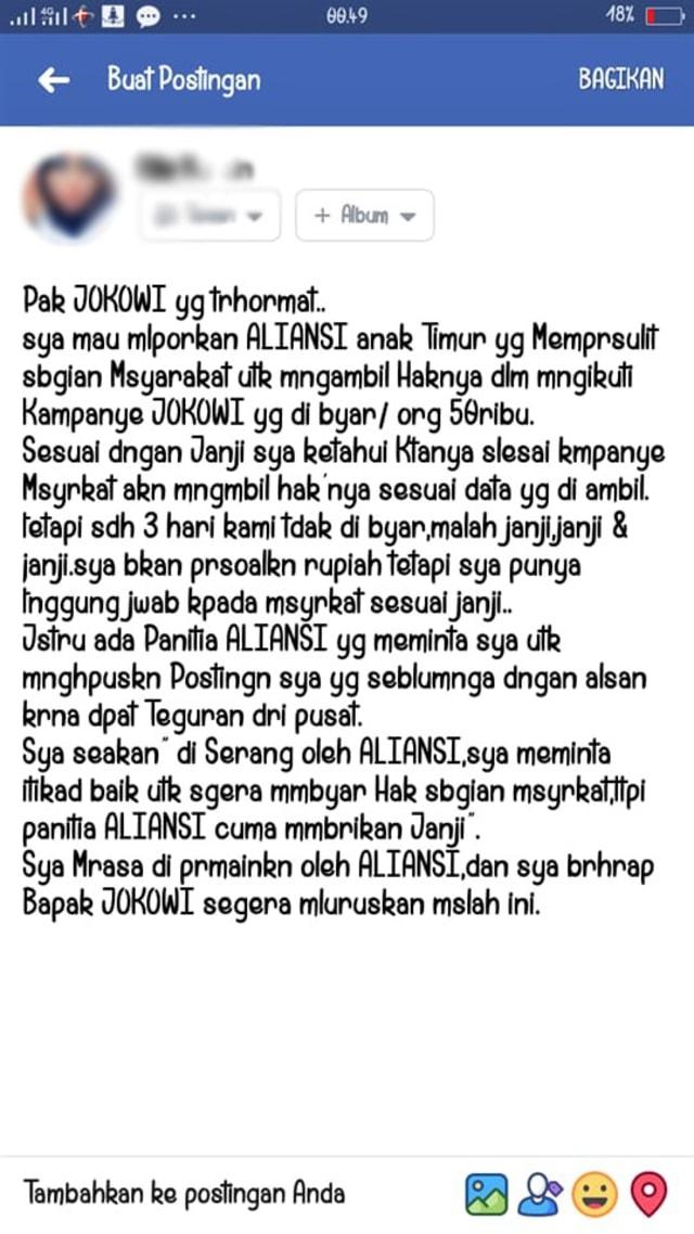 Massa Kampanye Jokowi-Ma'ruf Tagih Duit Rp 50.000 ke Pihak Panitia (185219)