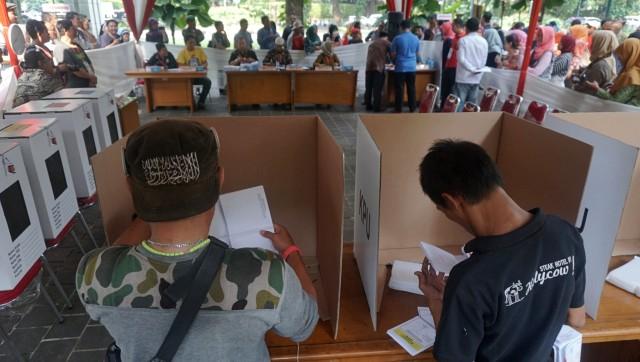 Simulasi pencoblosan Pemilu 2019 di Taman Suropati