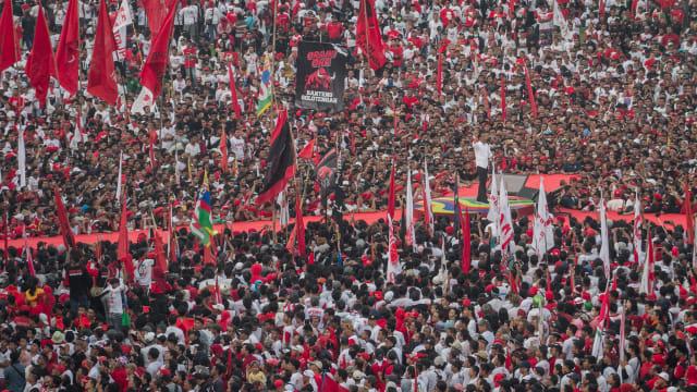 Calon Presiden no urut 01 Joko Widodo memberikan orasi politik, Kampanye Terbuka di Solo, Jawa Tengah