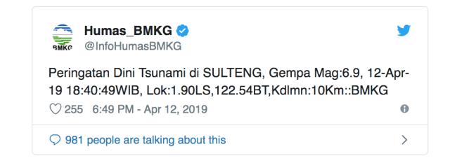 gempa, tsunami, bmkg, sulteng