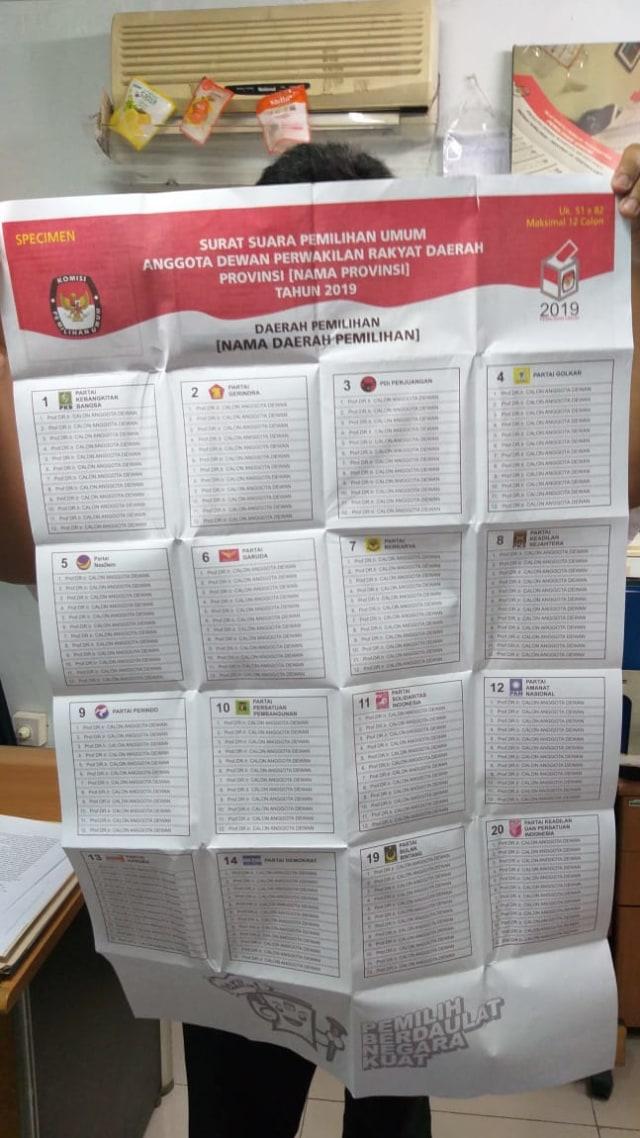 Surat Suara Pileg DPRD Provinsi