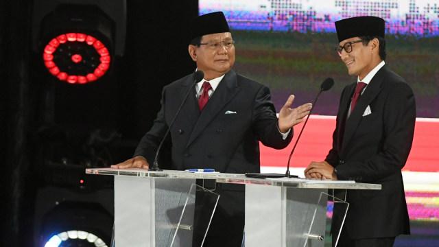 Debat Pilpres ke V, Pemilu 2019, Prabowo Subianto, Sandiaga Uno, mengikuti debat
